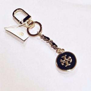 NWT! TORY BURCH Mercer Black Leather Inlay Key Fob